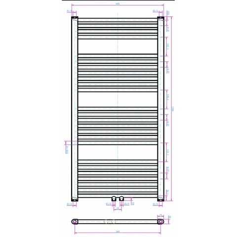 Blinq Altare R handdoekdesignradiator 120 x 60 cm (H X L) grijs metallic