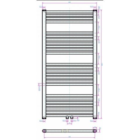 Blinq Altare R handdoekradiator 120 x 60 cm (H X L) wit