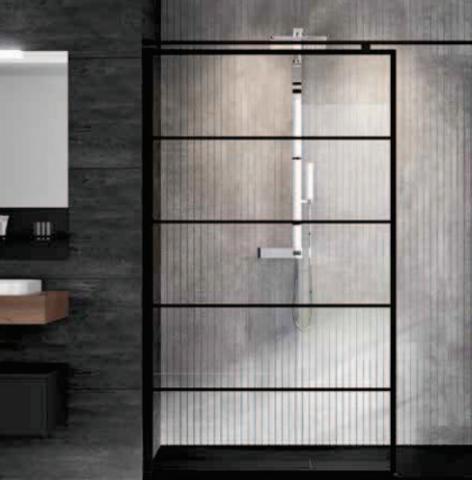 Novellini Kuadra H inloopdouche 120cm - stripes motief - mat zwart