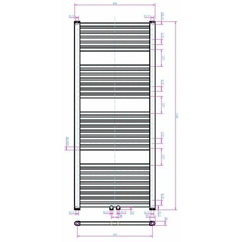 Blinq Altare R handdoekradiator 140 x 60 cm (H X L) grijs metallic