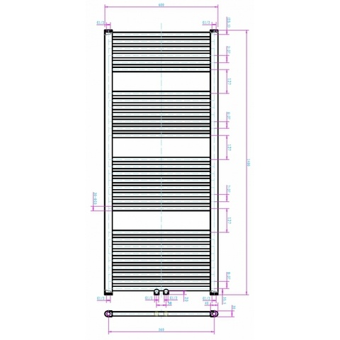 Blinq Altare R handdoekradiator 140 x 60 cm (H X L) wit