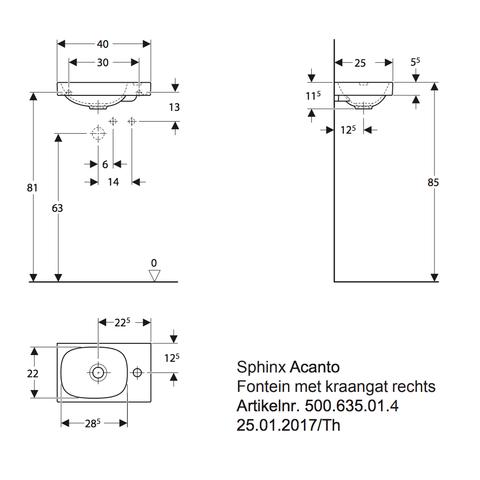 Sphinx Acanto fontein 40 cm. zonder overloop met kraangat wit