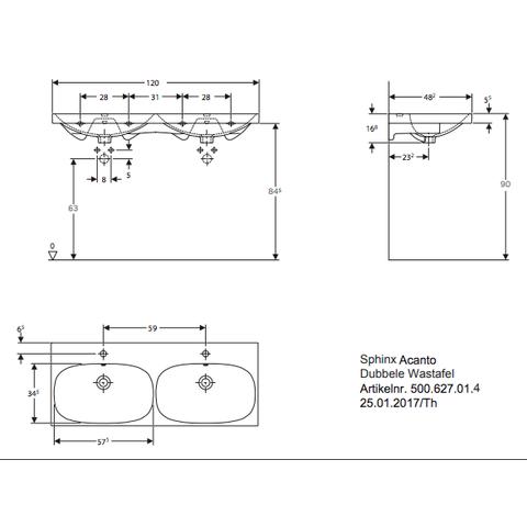 Geberit Acanto wastafel dubbel 120 x 48,2cm 2 kraangaten met overloop wit
