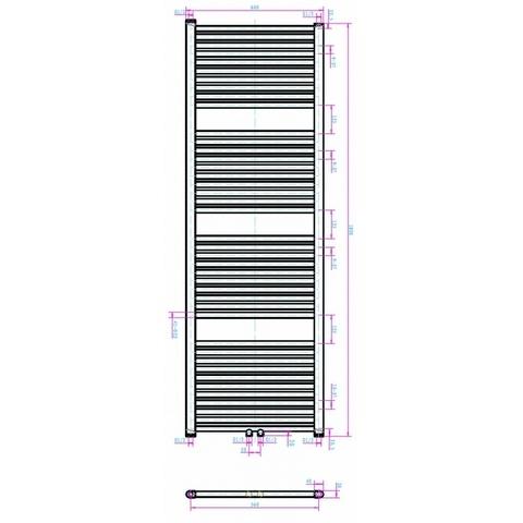 Blinq Altare R handdoekdesignradiator 180 x 60 cm (H X L) grijs metallic