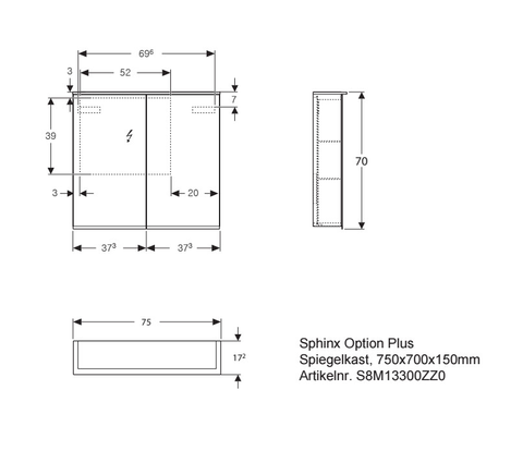 Geberit Option spiegelkast met verlichting 2 deuren 75x70x17,2cm