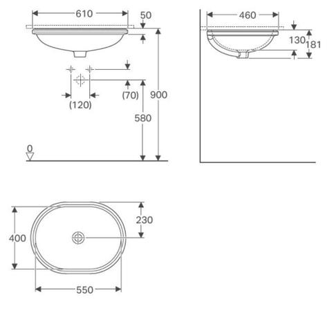 Geberit Variform onderbouw wastafel 55x46cm zonder overloop wit