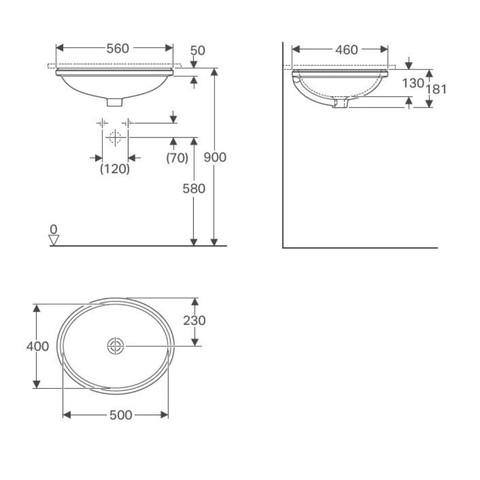 Geberit Variform onderbouw wastafel 50x46cm zonder overloop wit