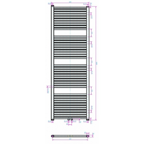 Blinq Altare R handdoekradiator 180 x 60 cm (H X L) wit