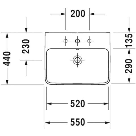 Duravit Me By Starck wastafel 55x44 cm. 1x kraangat m/overloop wit