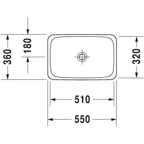 Duravit P3 Comforts inbouw wastafel 55x36 cm. gliss wit