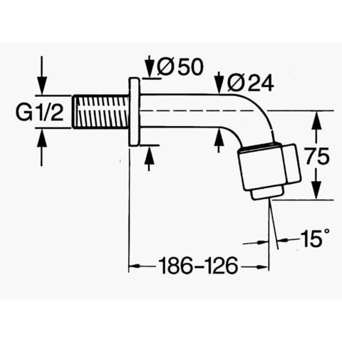 Hansa Nova tapkraan uitloop inkortbaar 126-186 mm.