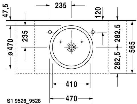 Duravit Starck 1 opzet wastafel 47cm. geslepen zonder kraangat wit