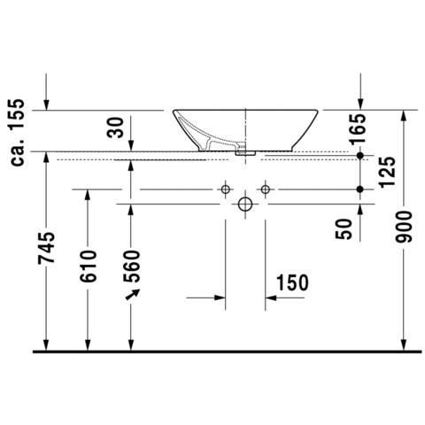 Duravit Bacino opzet wastafel 55x42 cm. met overloop gliss wit