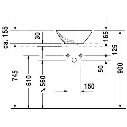 Duravit Bacino opzet wastafel 42x42 cm. met overloop wit