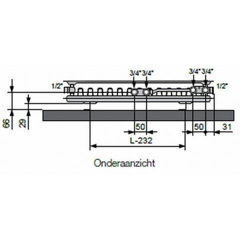 Vasco Flatline T21s paneelradiator type 21 - 200 x 40 cm (L x H)