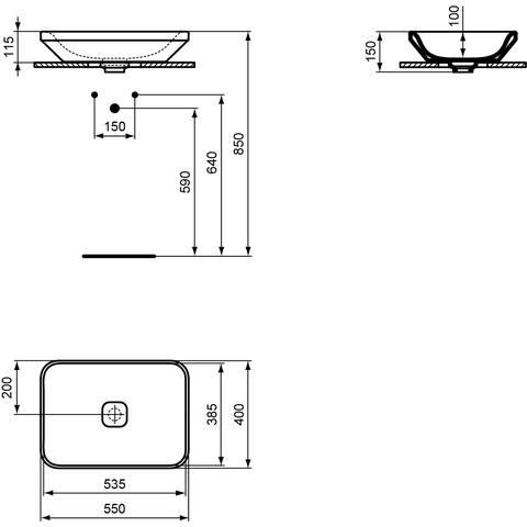 Ideal Standard Tonic II opzetwastafel 55cm wit