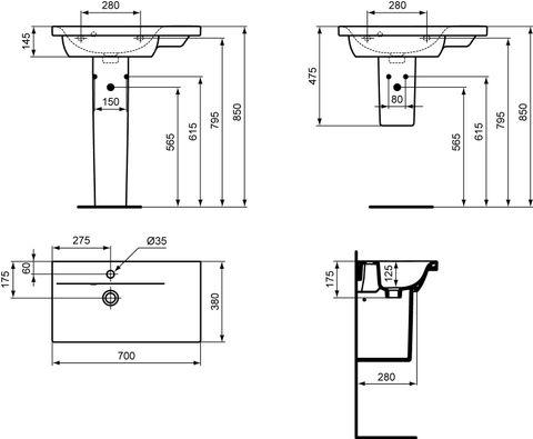 Ideal Standard Connect Space wastafel keramiek wit diepte 380mm