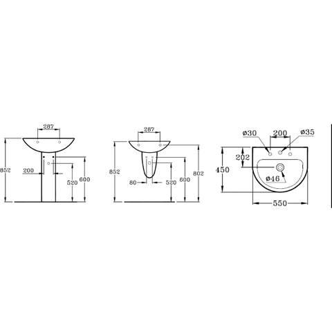 Ideal Standard Eurovit wastafel afgerond 55cm