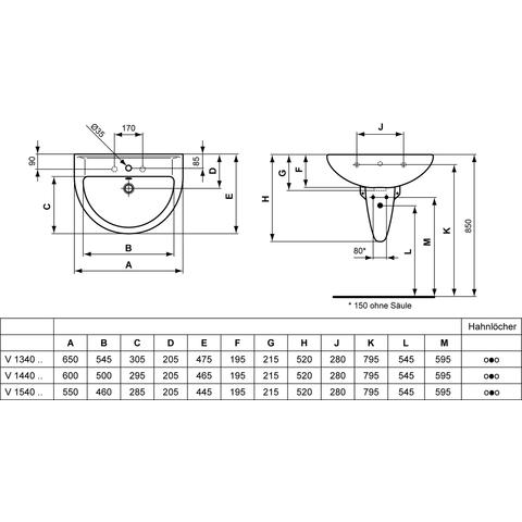 Ideal Standard Eurovit wastafel afgerond 60cm