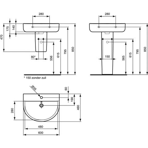 Ideal Standard Connect Arc wastafel 60 x 46 cm.
