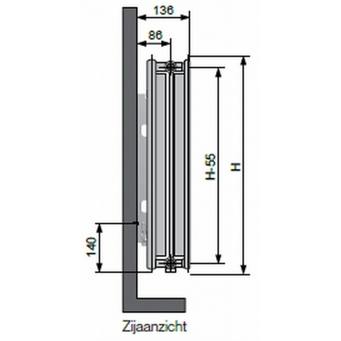 Vasco Flatline T22 paneelradiator type 22 - 100 x 30 cm (L x H)