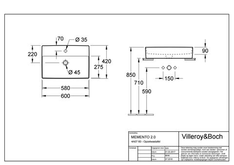 Villeroy & Boch Memento 2.0 opzet wastafel 60x42 m/kraangat z/overl.plus wit