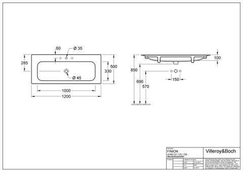 Villeroy & Boch Finion meubelwastafel 120x50 m/kraangat m/viflow plus wit