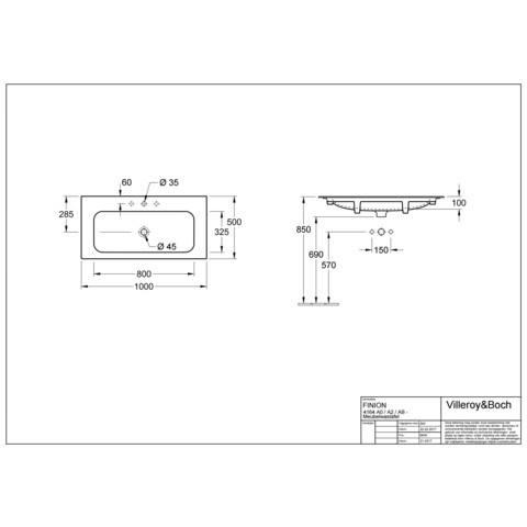 Villeroy & Boch Finion meubelwastafel 100x50 m/kraangat m/viflow plus wit