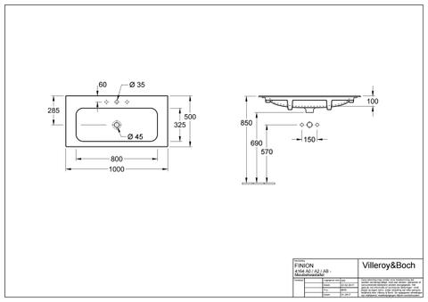 Villeroy & Boch Finion meubelwastafel 100x50 m/kraangat z/overl.plus wit