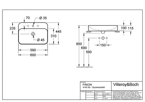Villeroy & Boch Finion opzet wastafel 60x44,5 m/kr.gat m/viflow plus wit