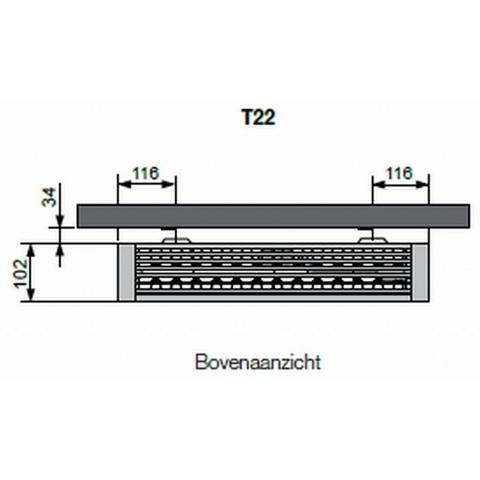 Vasco Flatline T22 paneelradiator type 22 - 140 x 40 cm (L x H)