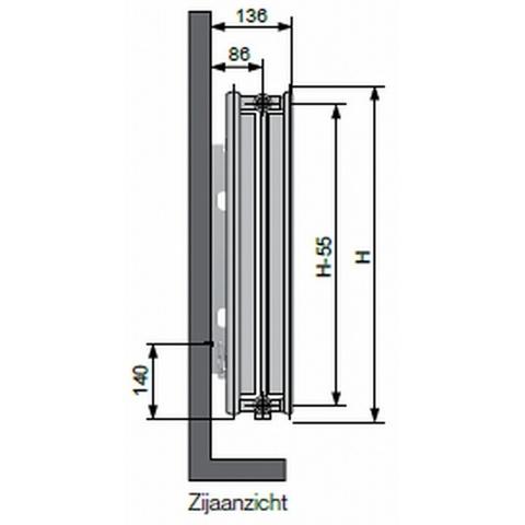 Vasco Flatline T22 paneelradiator type 22 - 160 x 70 cm (L x H)