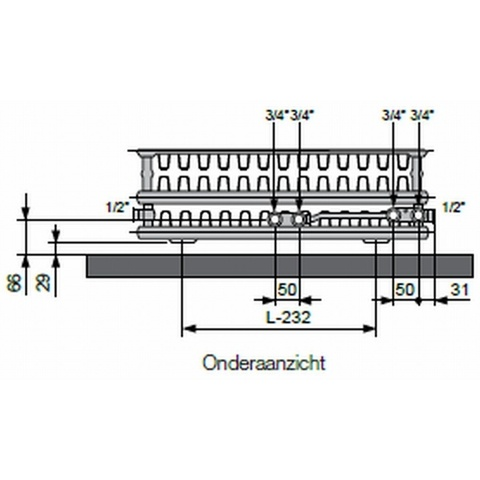 Vasco Flatline T33 paneelradiator type 33 - 220 x 40 cm (L x H)