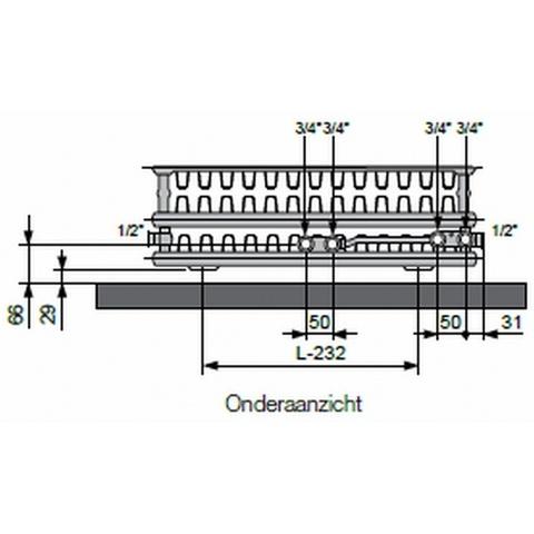 Vasco Flatline T33 paneelradiator type 33 - 160 x 50 cm (L x H)