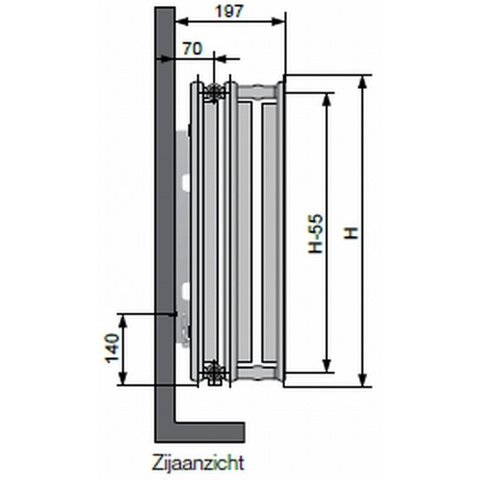 Vasco Flatline T33 paneelradiator type 33 - 160 x 60 cm (L x H)
