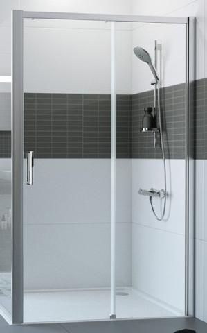 Huppe Classics 2 Easy Entry schuifdeur 160 x 200 cm. m/vast segment rechts gl.zilver-antiplaque glas