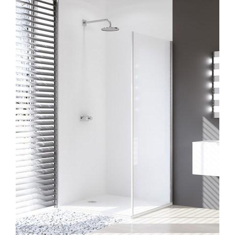 Huppe Design Pure sw zijwand 90 x 190 cm. rechts met vast segment matzilver-helder glas
