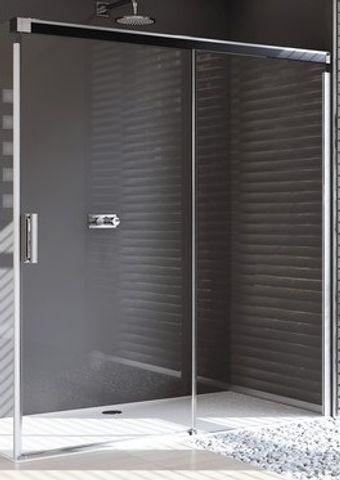 Huppe Design Pure gts 1-dlg.schuifdeur 120x190cm.rechts vast segment matzilver-helder glas