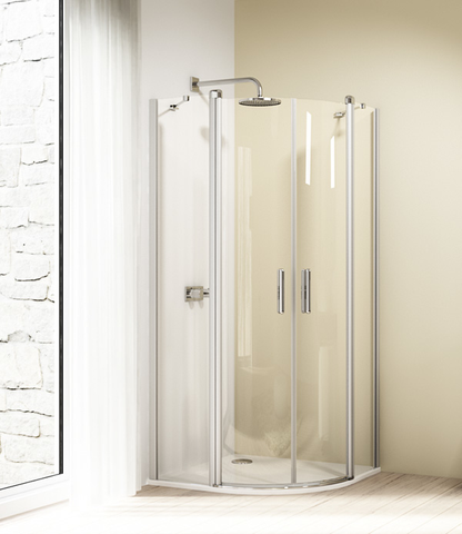 Huppe Design Elegance 2-dlg.draaideur kwartrond helft 90 x 190 cm. matzilver-helder glas