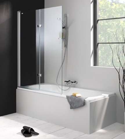 Huppe 501 Design badklapwand deur links 100x150 cm. matzilver-helder glas