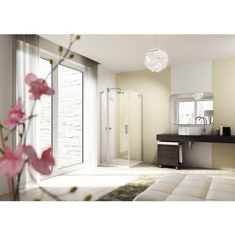Huppe Design Elegance st draaideur 100 x 190 cm.met vast segment matzilver-helder glas