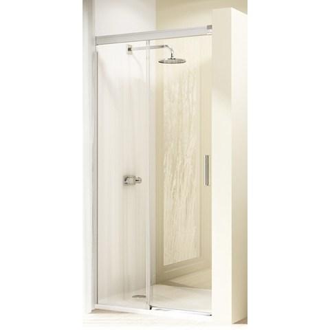Huppe Design Elegance gtn schuifdeur rechts 140x190cm.met vast segment matzilver-helder glas