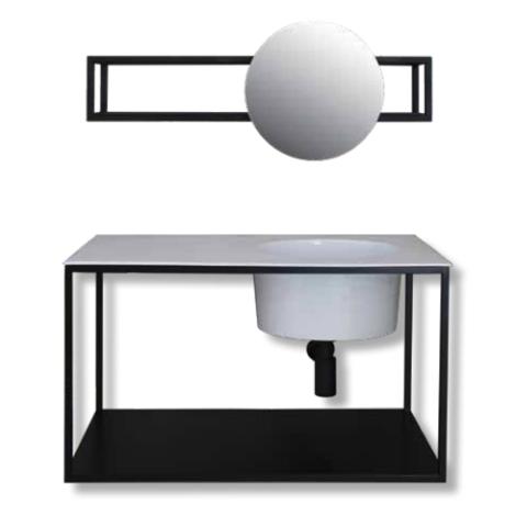Ink UFO badmeubel met stalen frame 80 cm
