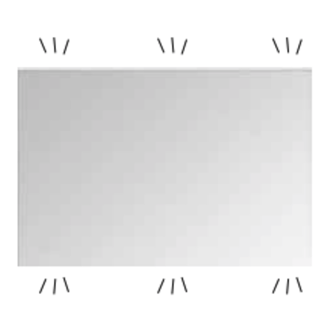Bad in Beeld spiegel rechthoek met indirecte boven en onder led verlichting - alu 600x30mm (bxd)