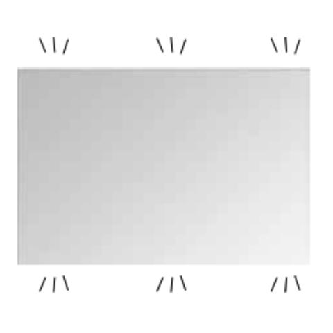 Bewonen Inge spiegel rechthoek met indirecte boven en onder led verlichting - alu 1000x30mm (bxd)