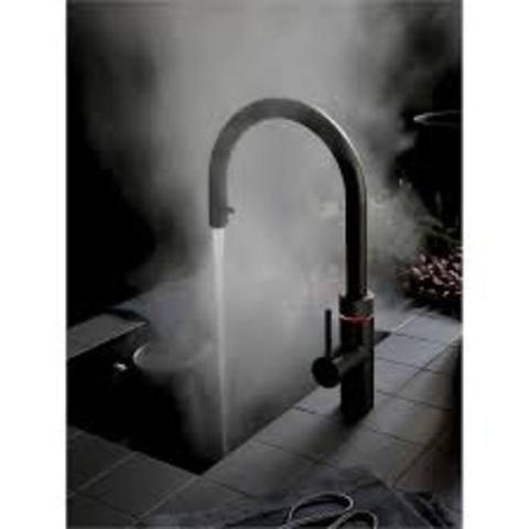 Quooker Fusion Round kokend water keukenmengkraan - mat zwart - met Combi boiler