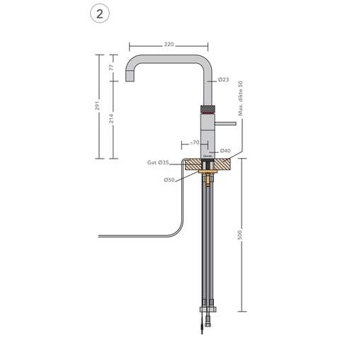 Quooker Fusion Square kokend water keukenmengkraan - mat zwart - met Combi+ boiler