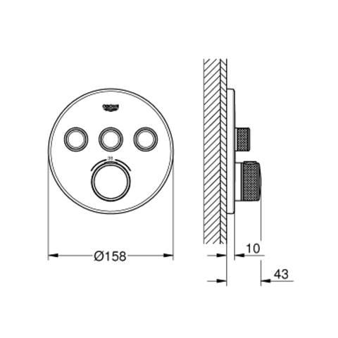 Grohe Grohtherm Smartcontrol afbouwdeel voor 3-weg inbouwthermostaat hard graphite geborsteld