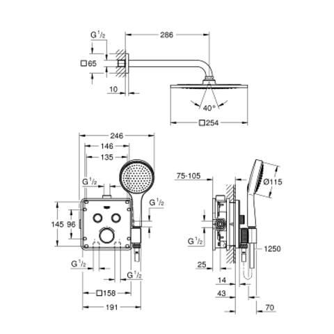 Grohe Grohtherm Smartcontrol comfortset inbouw f-serie 254 chroom