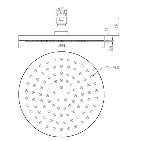 Wiesbaden Caral inbouw doucheset rond - mat zwart - 20cm hoofddouche
